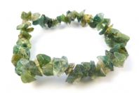 Moss Agate Gemstone Chip Stretch Bracelet.